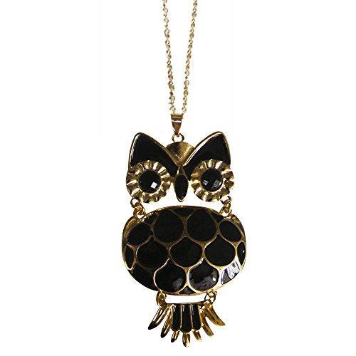 Twinkle Enamel Pendant Necklace - Opera Owl (Black) - Making A Wise Man Costume