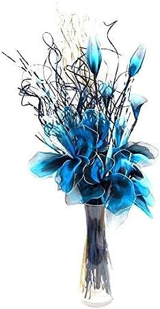 Azul NETLON arreglo de orgánico hecho a mano flores y Indian grasas secas. Azul y blanco en color. Aprox. 75cm de alto.