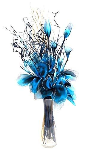 Blu Netlon composizione di fiori organico fatto a mano indiano e erbe secche. In colore blu e bianco. Circa 75cm di altezza. Link Products Limited