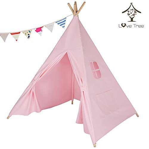LoveTree Canvas Teepee Canopy Tent Playhouse-Pure Pink One Window Style-Preassemble by Love Tree