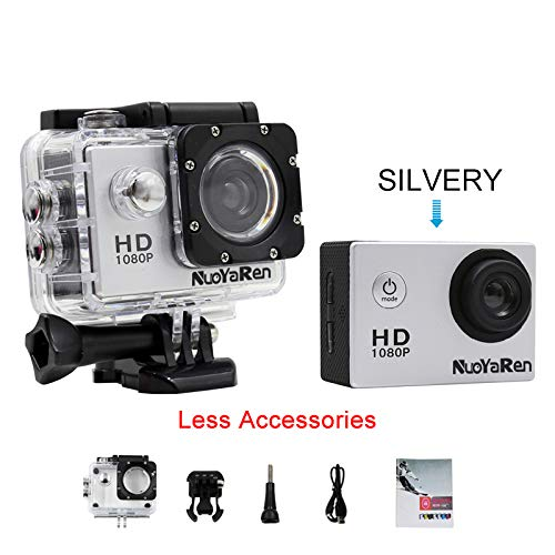(NUOYAREN Action Camera 1080P 12MP Sports Camera Full HD 2.0 Inch Action Cam 30m/98ft Underwater Waterproof Camera with Mounting Accessories Kit (Silver-Less))