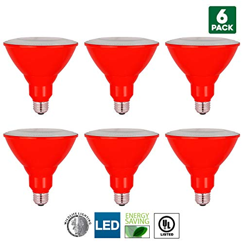 - 6-Pack Sunlite LED PAR38 Red Floodlight Bulb, 8W (25W Equivalent), Medium (E26) Base, Indoor, Outdoor, Wet Location, Turtle Safe and Wildlife Friendly, 25,000 Hour Lifespan, UL Listed
