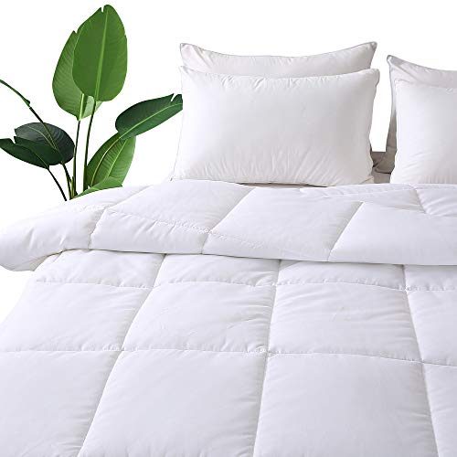 Decroom White Comforter Queen Full Size, Down Alternative Quilted Duvet Insert Queen,Moisture-Wicking Treament,Light Weight Soft and Hypoallergenic for All Season Comforter