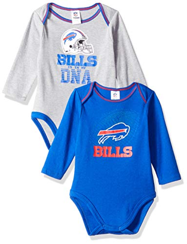 NFL Buffalo Bills Unisex-Baby 2-Pack Long-Sleeve Bodysuits, Blue, 3-6 Months