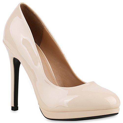 Stiefelparadies Damen Lack Pumps Stiletto High Heels Metallic Schuhe Party Abendschuhe Plateau Plateau Pumps Flandell Creme