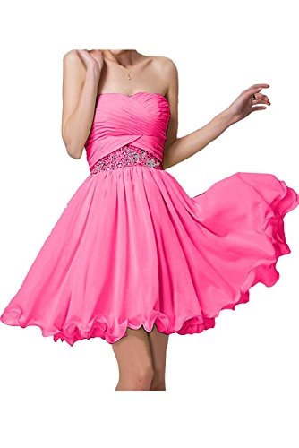 La Braut Brautjungfernkleider Blau Hell Elegant mia Kurz Abendkleider Jugendweihe Chiffon Mini Kleider Pink Partykleider RWB6rRn8