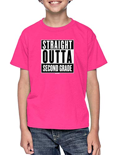 (HAASE UNLIMITED Straight Outta Second Grade - Elementary Youth T-Shirt (Pink, Small))