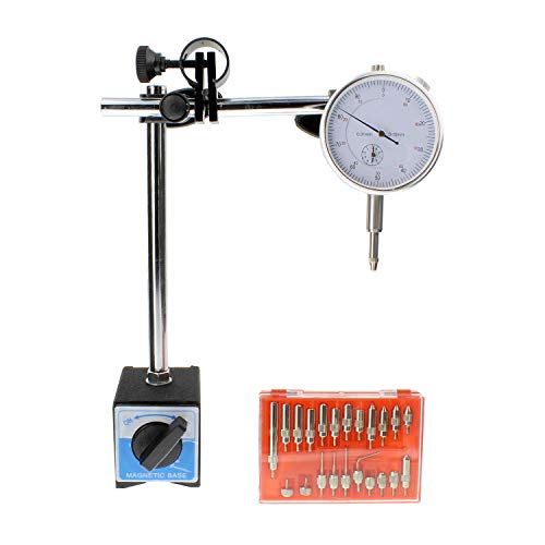 Precision Set Measuring (ABN Dial Test Indicator – Dial Indicator with Magnetic Base and 22 Pc Indicator Point Set, Precision Measuring Tool)