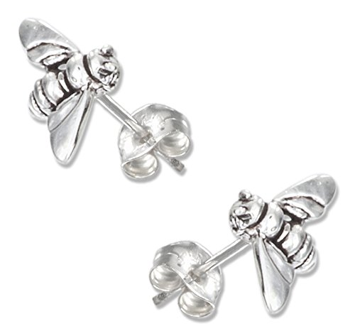 100silver sterling silver mini bumble bee earrings on