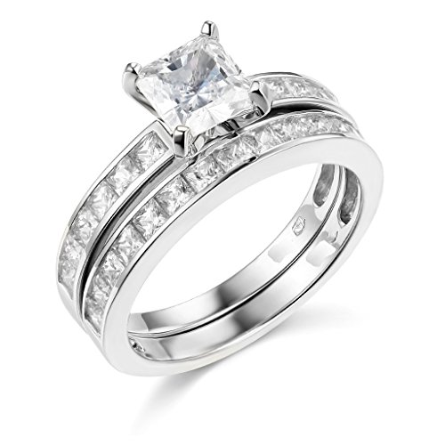 .925 Sterling Silver Rhodium Plated Engagement Ring and Wedding Band (Center Silver Wedding Band)
