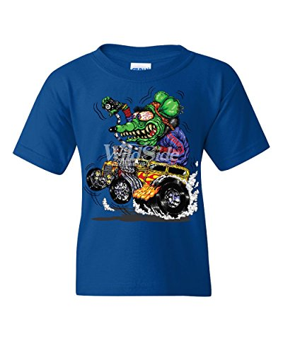 (8 Ball Yellow Hot Rod Youth T-Shirt Crazy Green Monster Rat Muscle Car Kids Tee Royal Blue M)