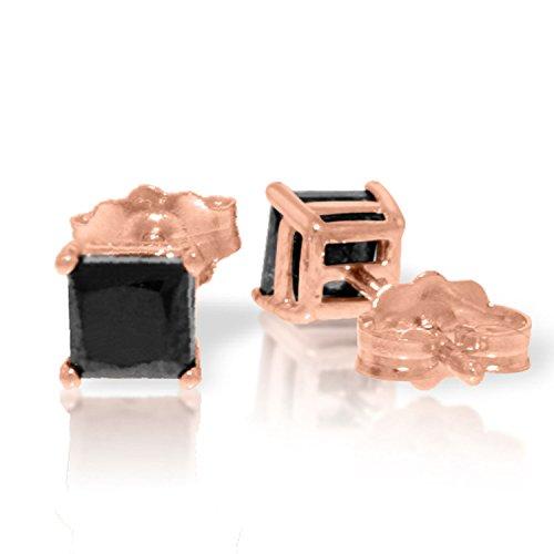 (1 Carat 14K Solid Rose Gold Stud Earrings Natural Black Diamond)