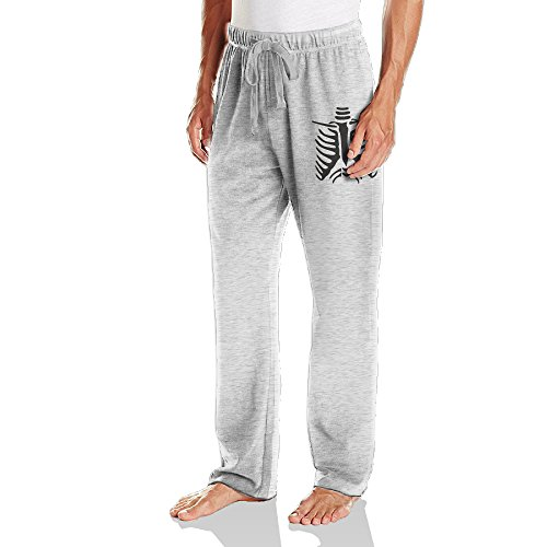 Vinda Men's Sweatpants Halloween Skeleton Ash Size XL -