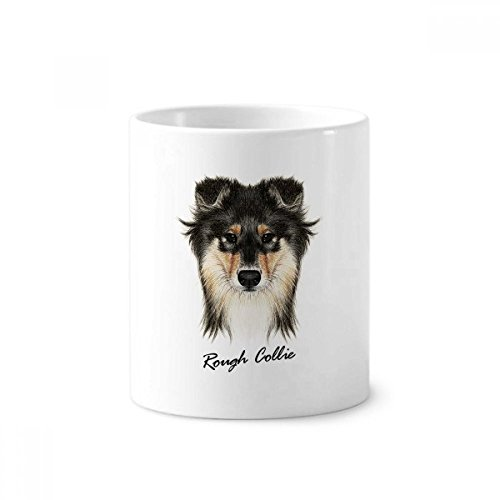 Long-haired Rough Collie Pet Animal Ceramic Toothbrush Pen Holder Mug White Cup 350ml Gift (Haired Rough Collie)