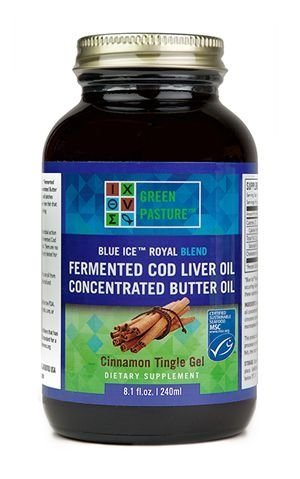 Green Pasture Blue Ice Royal Butter Oil / Fermented Cod Liver Oil Blend – CINNAMON GEL – 8.1 fl.oz For Sale