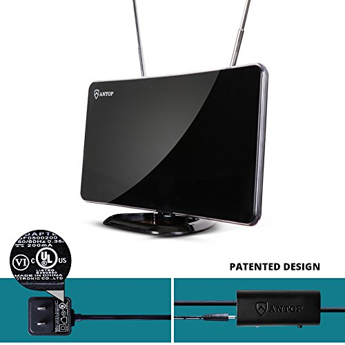 ANTOP 50 Miles Amplified Indoor HDTV Antenna with Inline Amplifier Multi-directional Reception Curved-Panel and Built-in 4G LTE Filter, 10ft Cable AT-211B