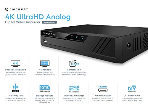 Amcrest 4K UltraHD 4 Channel DVR Security Camera System Recorder, 8MP Security DVR for Analog Security Cameras & Amcrest IP Cameras, Remote Smartphone Access, HDD & Cameras NOT Included (AMDV8M4-H5)