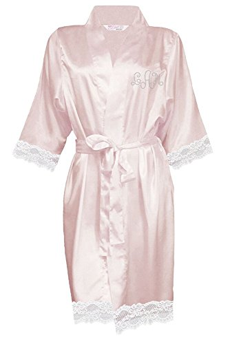 Zynotti Women Satin Robe with White Lace Trim and Clear Rhinestone Monogram, Blush, S/M -