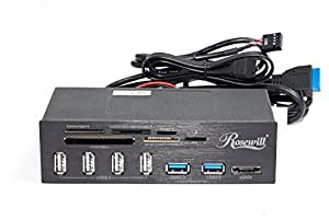 Rosewill 2-Port USB 3.0 4-Port USB 2.0 Hub eSATA Multi-In-1 Internal Card Reader with USB 3.0 Connector (RDCR-11004)