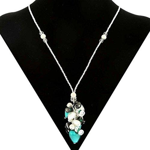 (GlassOfVenice Murano Glass Donatella Heart Charms Necklace - Aqua )