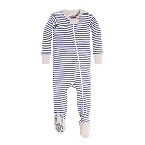 Burt's Bees Baby Boys' Infant Organic Stripe Zip Front Non-Slip Footed Sleeper Pajamas, Prairie Heather Stripe, 18 Months