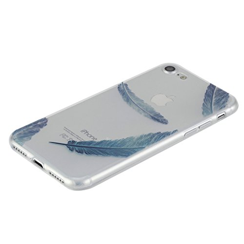 """iPhone 7 Hülle, IJIA Ultradünne Transparente Blaue Feder TPU Weich Silikon Stoßkasten Handyhülle Schutzhülle Handyhüllen Schale Case Tasche für Apple iPhone 7 (4.7"""") + 24K Gold Aufkleber"""