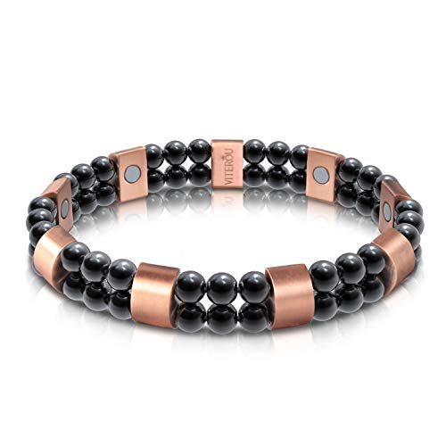 VITEROU Unisex Magnetic Therapy Bracelet Mixed with Pure Copper & Hematite Healing Stone for Arthritis Pain Relief,3500 Gauss
