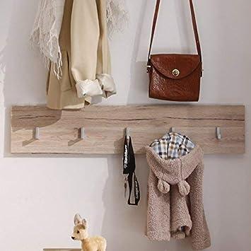 trendteam Perchero Panel perchero Malea, 88 x 18 x 2 cm en acabado roble San Remo con cinco ganchos para ropa