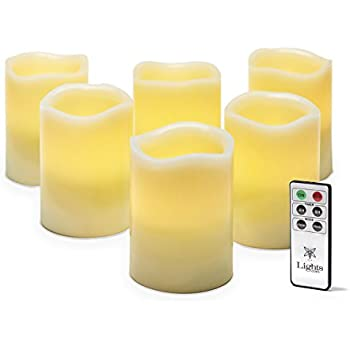 """6 Ivory Flameless Pillar Candles with Melted Edge, 4"""", Warm White LEDs, Remote & Batteries Included"""
