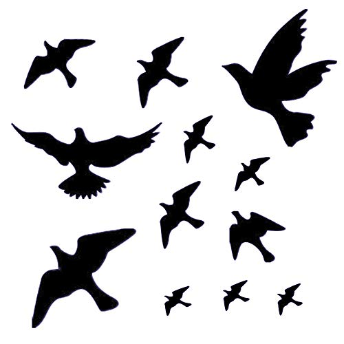 Anti-Collision Window Alert Bird Stickers Silhouettes Glass Door Protection and Save Birds (12 Silhouettes)