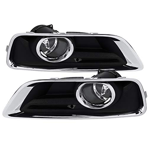 Carpartsinnovate For Chevy 13-15 Malibu Clear Bumper Fog Lights Driving Lamps Pair w/Bezel+Switch ()