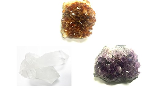 Zentron Crystal Collection Large Clear Quartz Cluster, Citrine Druze, Amethyst Druze Set 1 of each Cystal