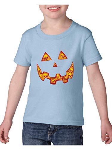 Halloween Costume Pumpkin Face Toddler Heavy Cotton Kids Tee (5TLB) Light Blue