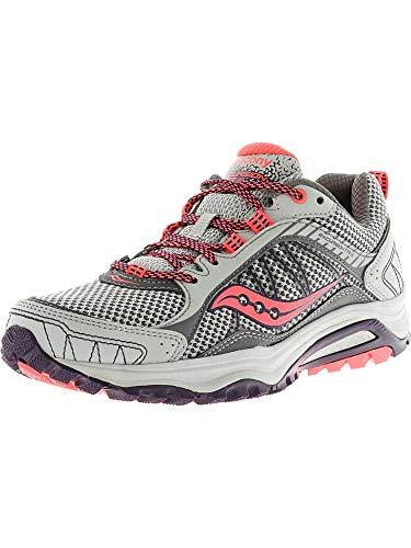 Saucony Women's Grid Excursion TR9 Trail Running Shoe, Grey/Plum/Coral, 5 M US