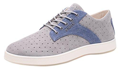 Aureus Men's Taurus Silver/Denim Blue Nubuck Leather Low Top Shoe Size 9.5 M US