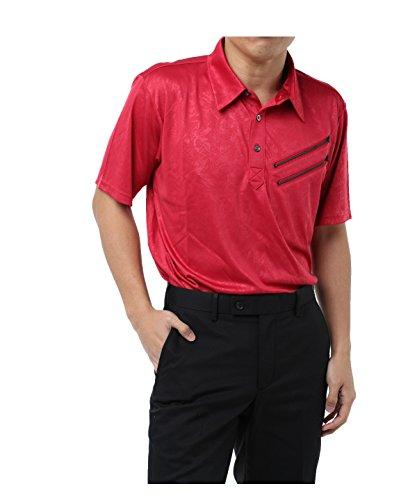 ツアーディビジョン ゴルフウェア ポロシャツ 半袖 ファスナーエンボス半袖シャツ TD220101H10 RD XO