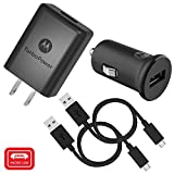 micro usb turbo car charger - Motorola TurboPower Micro-USB Car + Home Bundle: TurboPower 15 Car & TurboPower 15+ Wall Charger with 2 SKN6461A Data Cables for Moto E5 Plus, G5 Plus, G5S, G6 Play [Not for G6, G6 Plus] (Retail Box)
