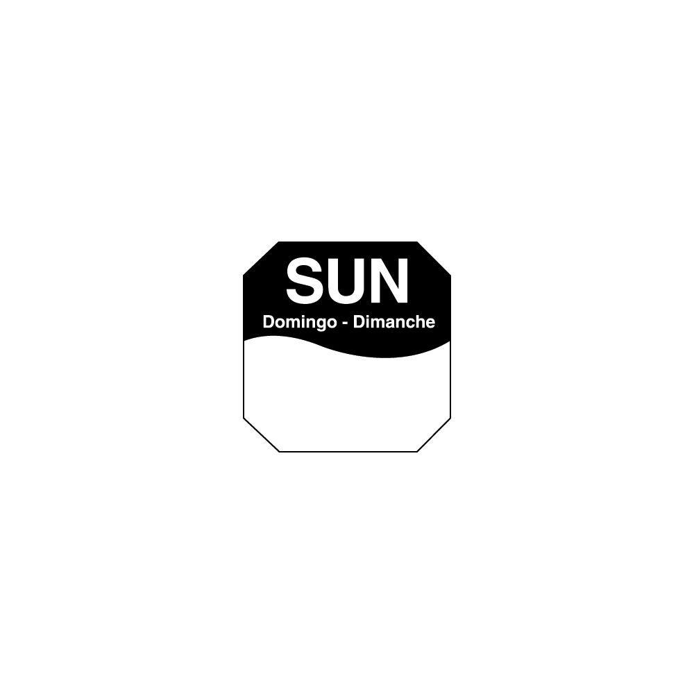 DayMark 1100607 Trilingual Octagonal 1'' Sunday Day Label - 1000 / RL