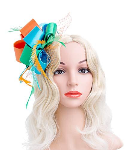 Cizoe Fascinators Hat for Women Tea Party Headband Kentucky Derby Wedding Cocktail Flower Mesh Feathers Hair Clip -