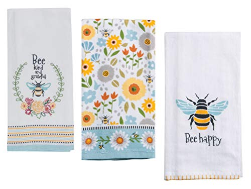 3 Honey Bee Themed Decorative Cotton Kitchen Towels Set with Bumble Bee, Floral and Bee Happy Print | 1 Each of Tea, Terry, Flour Sack Towel for Dish and Hand Drying | by Kay Dee Designs