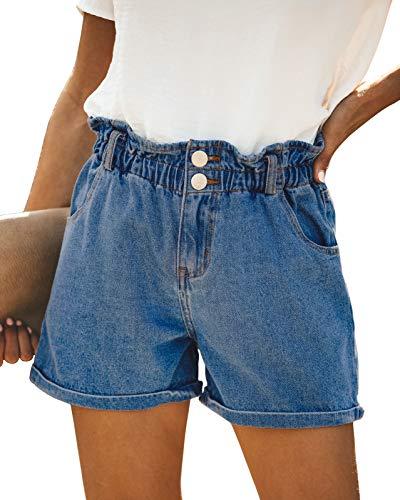 - DOOLONLU Women's High Waist Denim Shorts Fresh Start Pocketed Paper Bag Stretchy Waist Jeans Shorts(Blue,XL)