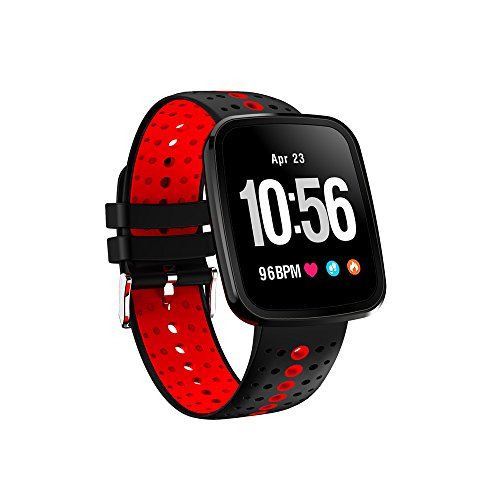 Fitness Tracker with Heart Rate Monitor,Smart Bracelet Blood Oxygen Pressure Monitor Sport Watch for IOS Android Smartphones(Red) by KingTo