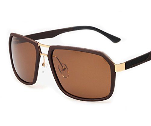 [Heartisan Fashion Square Full Metal Frame Polarized Unisex Sunglasses C4] (1970s Tennis Costume)