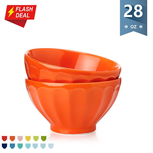 Bowl Small Orange (Sweese Porcelain Fluted Latte Bowl Set - 28 Ounce Stable and Deep - Microwavable Bowls for Cereal, Soup - Set of 2, Orange)