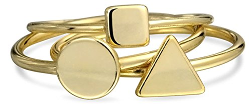 Sterling Silver Midi Ring Modern Shapes Stackable Rings Set Gold Plated (Ring Bling Stackable Silver)