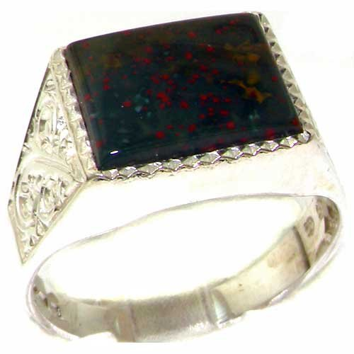Gents Solid 925 Sterling Silver Natural Bloodstone Mens Mans Signet Ring - Sizes 6 to 13 Available