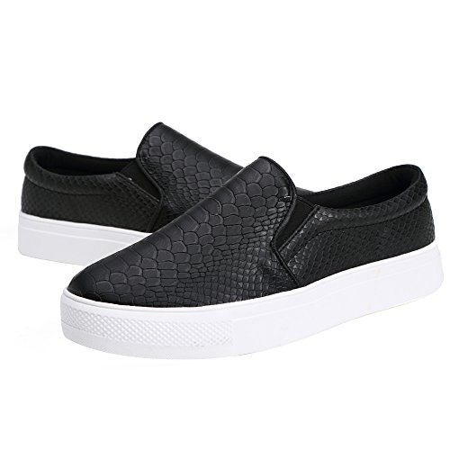 SUNROLAN Liz Womens Microfiber Leather Snake Print Slip On Loafer Flat Shoes Fashion Sneakers Black ZbyjmKujpY