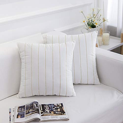 Yeadous Decorative Throw Pillows Gold Striped Velvet Cushion Covers for Sofa Couch Car, Throw Pillow Covers Cases, Square Pillowcase-Off White 18
