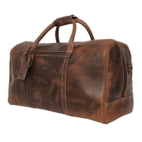 Handmade Leather Carry On Bag - Airplane Underseat Travel Duffel Bags By Rustic Town (Mulberry)