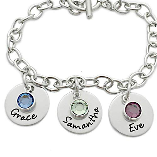nalized with Name and Birthstones - Mother Bracelet - Personalized Engraved Jewelry - 1032 ()